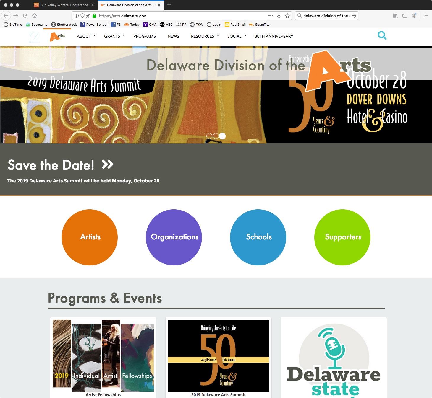 Image of Delaware Division of Arts Web Banner
