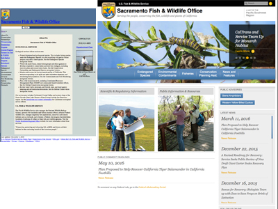 Image of U.S. Fish and Wildlife Service, Sacramento Field Office Redesigned Website